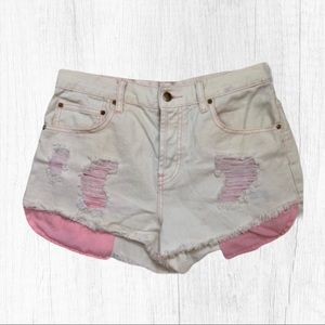 Forever 21 Cream Pink Cheeky Jean Shorts 2…